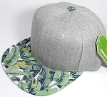 Wholesale Light Grey Denim Snapback Cap - Banana Leaves