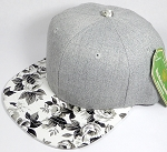 Wholesale Light Grey Denim Snapback Caps - White Rose