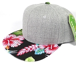 Wholesale Light Grey Denim Snapback Cap - Hawaiian Hibiscus - Black
