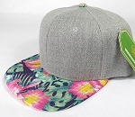 Wholesale Light Grey Denim Snapback Cap - Hawaiian Floral - Navy Tone