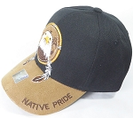 Wholesale Native Pride PU Brim Cap - Eagle Dreamcatcher - Black