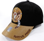 Wholesale Native Pride PU Brim Cap - Buffalo Dreamcatcher - Black