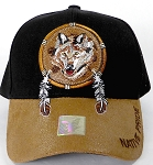 Wholesale Native Pride PU Brim Cap - Wolf Dreamcatcher - Black