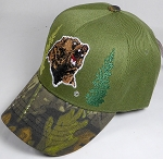 Wholesale Native Pride Baseball Cap - Roaring Forest Bear - Olive Green