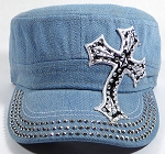 Wholesale Rhinestone Cadet Hat - Cross - Light Denim