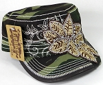 Wholesale Rhinestone Distressed Cadet Cap - Leaf - Camo