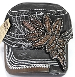 Wholesale Rhinestone Distressed Cotton Twill Cadet Cap - Leaf - Charcoal Gray