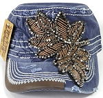 Wholesale Rhinestone Distressed Cotton Twill Cadet Cap - Leaf - Denim Blue