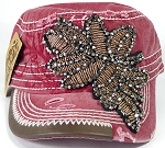 Wholesale Rhinestone Distressed Cotton Twill Cadet Cap - Leaf - Red