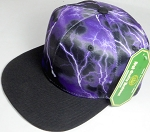 Wholesale Thunder Blank Snapback Caps - Purple - Black Bill
