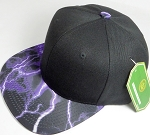 Wholesale Thunder Blank Snapback Caps - Purple - Black Crown