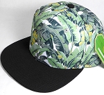 Wholesale Banana Floral Blank Snapback Hat - Black Brim