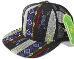 Wholesale Mesh Trucker 5 Panel Snapback Hats - Aztec - Blue Diamond