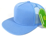 Wholesale Mesh Trucker 5 Panel Plain Snapback Hats - Sky Blue