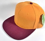 Wholesale Blank Snapback Hats & Caps Two Tone - Gold Yellow | Burgundy