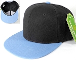 Wholesale Blank Snapback Hats & Caps Two Tone - Black | Sky Blue Brim