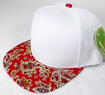 Wholesale White Crown Blank Snapback Cap - Paisley - Red