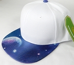 Wholesale White Crown Blank Snapback Cap - Galaxy - Blue