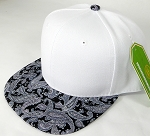 Wholesale White Crown Blank Snapback Cap - Paisley - D. Gray Black
