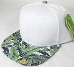 Wholesale White Crown Blank Snapback Cap - Banana Leaf
