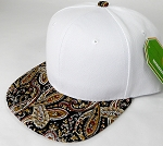 Wholesale White Crown Blank Snapback Caps - Paisley - Brown Black