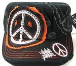 Bling Cowgirl Rhinestone Peace Sign Vintage Cadet Caps Wholesale