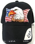 Wholesale USA American Flag & Eagle Caps - Black
