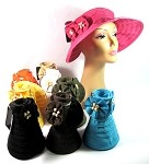 Women's Sun Hat Visors with Flowers and Beads Wholesale - All Solid Colors