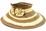 Women's Sun Hat Visor with Flowers and Beads Wholesale - Brown/Beige