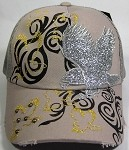 Vintage Bling Eagle Glitter Stitched Mesh Snapback Baseball Cap - Gray
