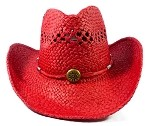 Wholesale Western Cowboy Straw Hats - Red