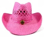 Wholesale Western Cowboy Straw Hats - Hot Pink