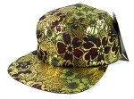 Wholesale 5 Panel Blank Floral Camp Hats - Gold.Burgundy