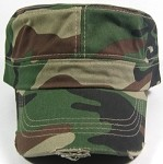 Blank Cadet Hats Wholesale - Green Camo Vintage Distressed Cap
