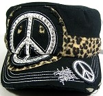 Bling Fashion Peace Sign Cadet Hats Wholesale - Black Cap with Leopard Band