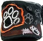 Bling Paw Print Rhinestone Vintage Cadet Hats Wholesale - Orange Patch