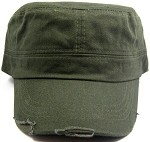 Blank Cadet Hats Wholesale - Olive Green Vintage Distressed Cap