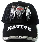Native Pride Dreamcatcher Baseball Caps Hats Wholesale - Buffalo Skull