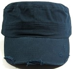 Blank Cadet Hats Wholesale - Navy Vintage Distressed Cap