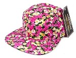 Blank 5 Panel Floral Camp Hats/Caps Wholesale - Pink Flower