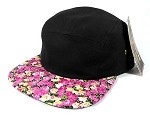 Blank 5 Panel Floral Camp Hats/Caps Wholesale - Black Crown | Pink Flowers