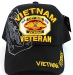 Wholesale US Military VIETNAM VETERAN Caps Hats - Black