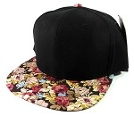 Blank Floral Snapback Hats Caps Wholesale - Black | Burgundy Flowers