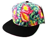 Blank Floral Snapback Hats Caps Wholesale - Hawaiian Flowers Navy | Black