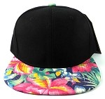 Blank Floral Snapback Hats Caps Wholesale - Black | Hawaiian Flowers Navy