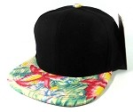 Blank Floral Snapback Hats Caps Wholesale - Black | Hawaiian Flowers Green