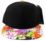 Blank Floral Snapback Hats Caps Wholesale - Black | Crayon Multicolored Flower