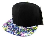 Blank Floral Snapback Hats Caps Wholesale - Black | Blue Flowers (ONLY 18 LEFT IN THE STOCK)