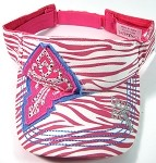 Rhinestone Cross Bling Visors Wholesale - Pink Zebra Print