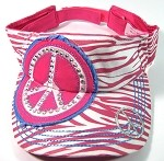Rhinestone Peace Sign Bling Visors Wholesale - Pink Zebra Print
